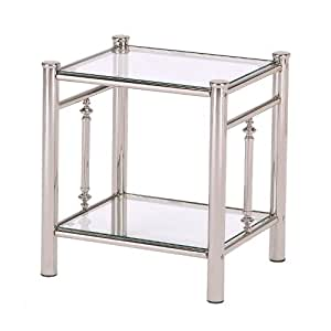 feather & black Henley Bedside Table Nickel Finish Bedside with Glass Top and Glass Undershelf