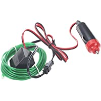 TOOGOO(R) 2M Flexible EL cable Partido luz del coche LED de neon tubo de la cuerda + 12V Inversor - Verde