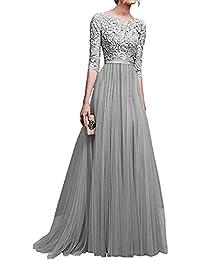 7bd74e12c Minetom Mujer Vestidos De Noche Fiesta Elegante Largos Bodas Vestido De  Gasa Atractivo 3 4