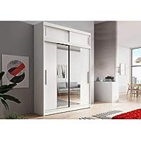 E-MEUBLES Armoire de Chambre avec 2 Portes coulissantes + avec Espace de Stockage supplémentarie + Miroir | Penderie…