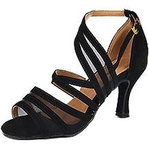 Zapatos de baile SUKUTU para mujer, para baile latino, tango, salsa, de raso SU002
