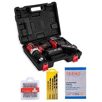 TEENO Taladro Atornillador 20V,Taladro sin cable Inalámbrico con la Función de Percutor, 2*Baterías de Litio Lon (2.0Ah),13mm Portabrocas Automatico