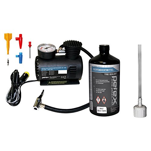 PETEX 445100 Reifenpannenset Luftkompressor 12V, 18 bar, 3-TLG. Adapterset und Reifendichtmittel inkl. Einfülldeckel, Ventilausdreher mit Flügel, Ersatzventil