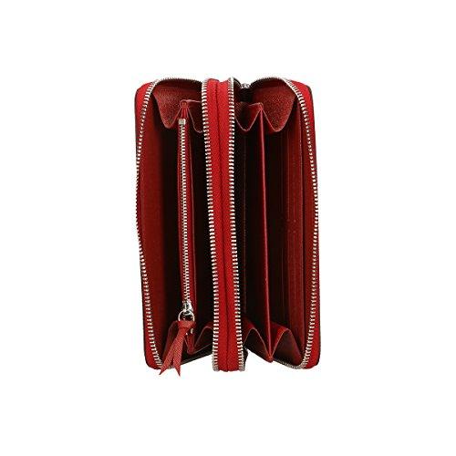 Chicca Borse Portafogli in pelle 21x11x3 100% Genuine Leather Rosso