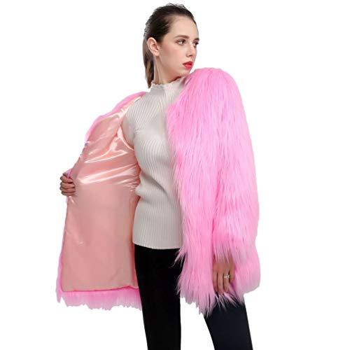Yuandian donna midi lungo pelliccia sintetica giacca manica lunga tinta unita caldo morbidi elegante finta pelo cappotto sciolto signora pelliccia ecologica giubbotto rosa s