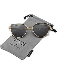 Occhio di gatto, Aolvo retro cat-eye occhiali da sole in metallo donne occhiali da sole per donne specchio piatto lenti Street Fashion con custodia, UV400 Red