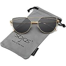 SojoS Moda Twin-Beams Occhi di Gatto Donna Specchio Metallo Telaio Occhiali da Sole Cat Eye Women Sunglasses SJ1001