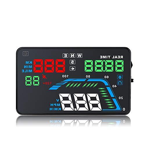 NBKLS Head-Up-Display, automatische Mehrfarben-Auto-HUD GPS Head-Up-Display Tachometer Überdrehzahlwarnung Instrumententafel Windschutzscheibenprojektor