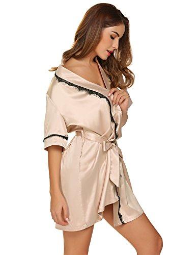 Damen satin Morgenmantel Kimono Bademantel kurzarm Nachthemd Nachtwäsche Spitze Seidenrobe Schlafanzüge sleepwear Mit Blumenspitze Beige 8788