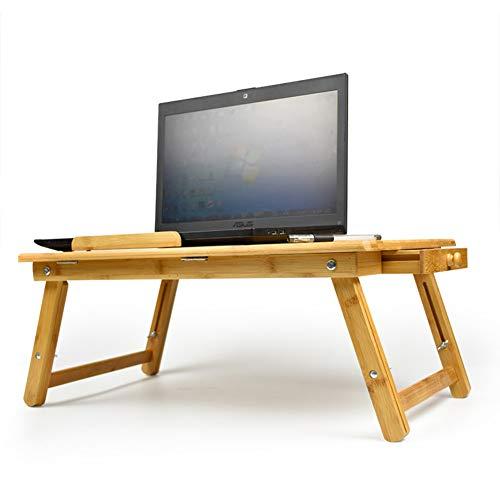 Verstellbar Bambus Laptop-schreibtisch,Multifunktion Lapdesks Frühstückstasse Dienen Bett tablett Folding Computer Stehen schreibtisch Für tablets bücher laptop-Holzfarbe 55x35x30cm(22x14x12inch)