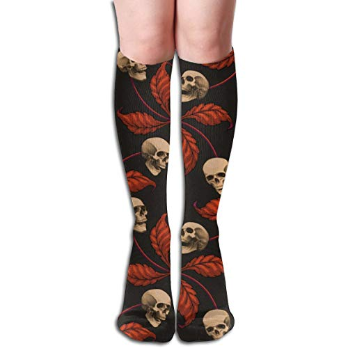 Stocking VINTAGE HALLOWEEN CHERRY SKULL Large Scale Collection Cherry Skull Rock 'n' Roll Old School Tattoo Multi Colorful Patterned Knee High Socks 19.6Inchs ()