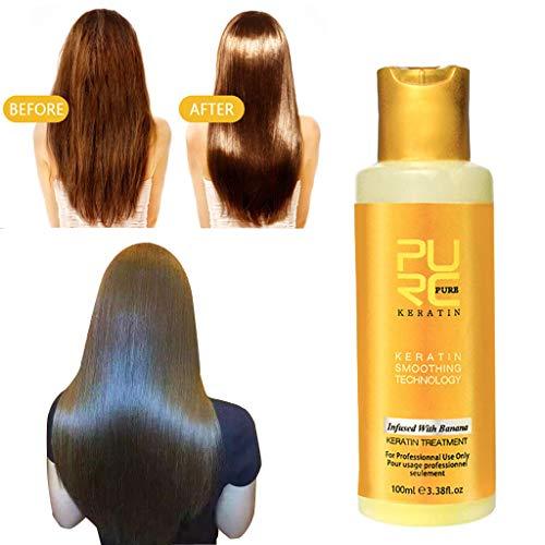 fasloyu 12% Bananengeschmack Keratin-Behandlung Glättende Haarreparaturcreme, Keratin-Kollagen-Protein-Intensiv für trockenes, geschädigtes Haar Repaid-Behandlungsmaske (60 ML) -