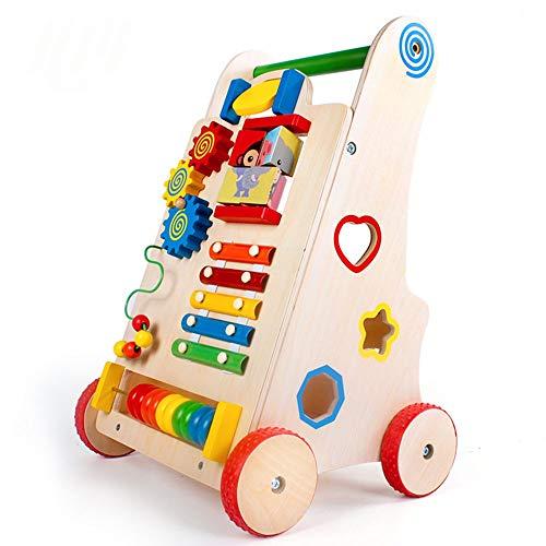 Zavddy Baby Steps Activity Walker Kinderwagen aus Holz für die frühe Kindheit Multifunktionsbabybabywanderwagen Schritt-für-Schritt-Rollwagen Baby Walker Lernen (Farbe : Wood, Größe : 51 * 33 * 30CM)