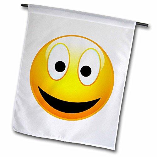 3drose FL _ 19404_ 1Smiley, 2A gelb und schwarz Happy Face mit einem großen Lächeln und Glowing Nase Garten Flagge, 12von 18 (T-shirt Gelben Lächeln)