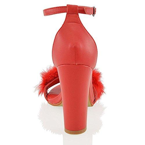 Essex Glam Sandalo Donna Pelliccia Sintetica Tacco a Blocco Rosso Sintetico