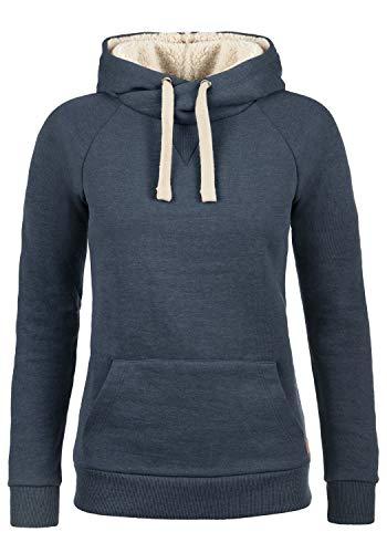 Blend She Julia Pile Damen Hoodie Kapuzenpullover Pullover mit Kapuze, Größe:XXL, Farbe:Navy mit Teddy-Futter (70230)