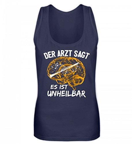 Shirtee Hochwertiges Frauen Tanktop - Klarinette Shirt · Musikinstrument · Musikverein-Bekleidung · Geschenkidee für Musiker · Motiv/Spruch Dunkel-Blau