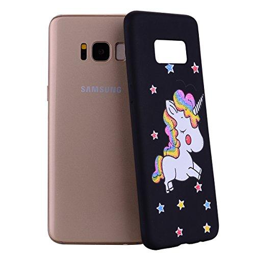 Galaxy S8 Hülle, Ultra Dünn TPU Weich Silikon Handy Hülle für Samsung Galaxy S8 (5.8 pouces), Niedlichen Einhörner Einfarbig Muster Design Handycover Schale Schutzhülle Ultradünnen Etui Anti-Stoß Krat Schwarz
