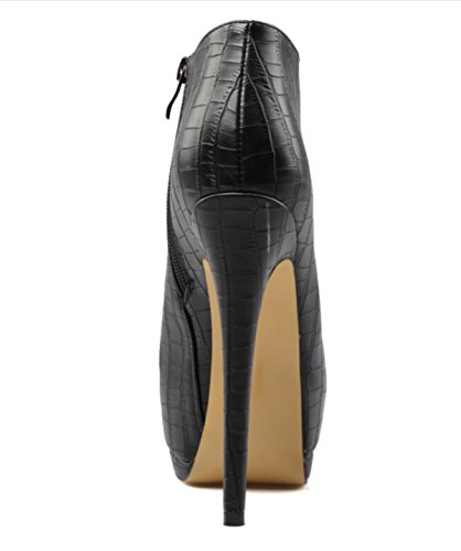 Linyi Femmes Talon Aiguilles Talon Stiletto Noir Talon Stiletto Imperméable Rond Imperméable Grande Taille Noir