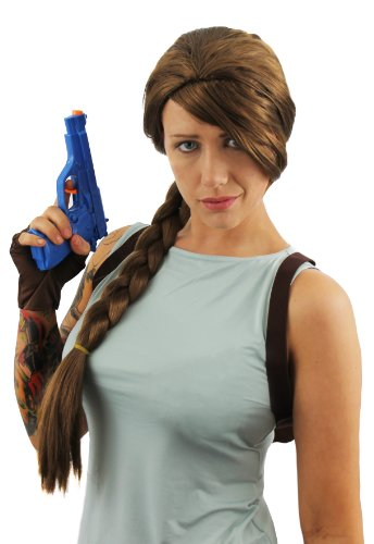 Adults Lara Croft Brown Plaits Wig