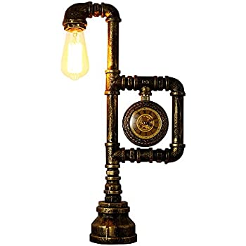 INJUICY Vintage Industrial Wrought Iron Metal Table Lamps E27 Edison Water Pipe Lights Bedside Rustic Steampunk Desk Accent Nightstand For