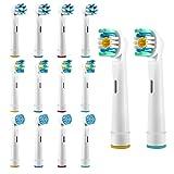 14 Ersatzbürsten für Oral-B Zahnbürsten, Bürstenkopf, Zahnbürstenköpfe, Ersatz Aufsteckbürsten von Pupow®, Kompatibel für Sensitive Zähne,Sauber Gesund(12-Pack in 3 Arten mit Schutzhülle und 2 frei)