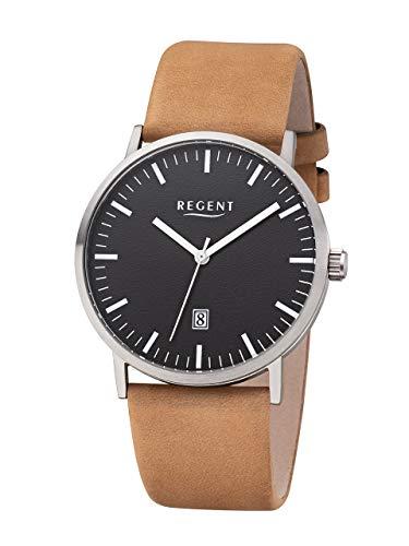 Regent Titan–Reloj de Pulsera analógico de Cuarzo Banda de Cuero marrón Claro F de 1232