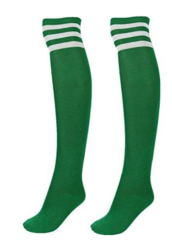 CHIC DIARY Damen Mädchen Kinder Strümpfe Overknee Kniestrümpfe gestreifte Sportsocken College Socks Baumwollstrümpfe (Weiß Streifen auf Grün)