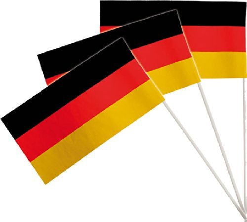 CHLAND * als Deko für Mottoparty oder Fussball-Party // Public Viewing Fussball Soccer schwarz rot gold Flaggen Fahnen Papierfahnen WM EM (Fähnchen)