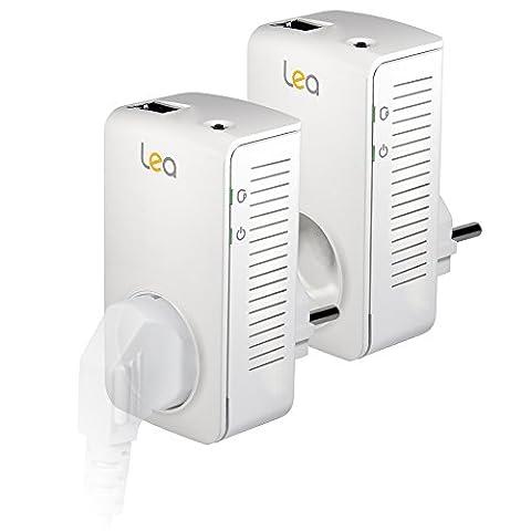 Lea Duo NetSocket 600 Pack de 2 Adaptateurs CPL 600 Mbps Blanc