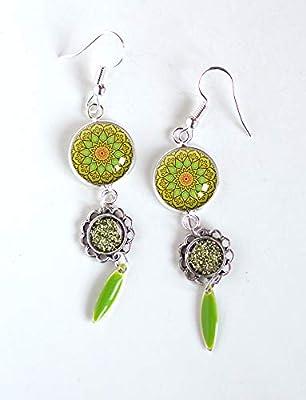 Boucles d'oreilles Vert, Inspiration Maroc, faïence marocaine, vert intense, vert printemps