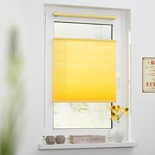 Lichtblick TPK.090.130.26 Plissee Klemmfix, Thermo, ohne Bohren – Gelb 90 cm x 130 cm (B x L) - 3