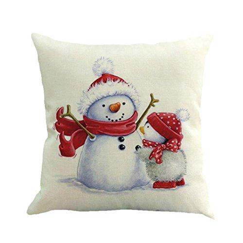 KanLin1986 Federe di Natale Natale stampa tintura divano letto decorazione Home Decor cuscino copertina (C)