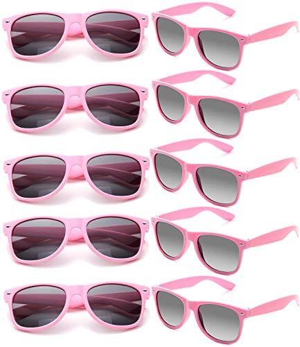 FSMILING Nerd Party Sonnenbrille UV400 Retro Design Stil Unisex Brille (10 Stück Rosa Brillen)