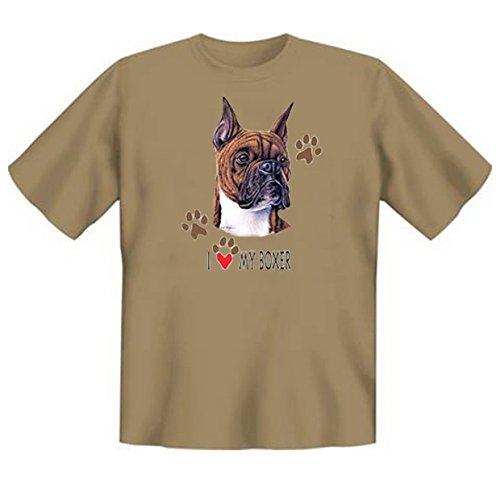 Hunde-Shirt/ T-Shirt mit Dog-Aufdruck: I love my Boxer - schönes Geschenk für Hundefreunde Sand