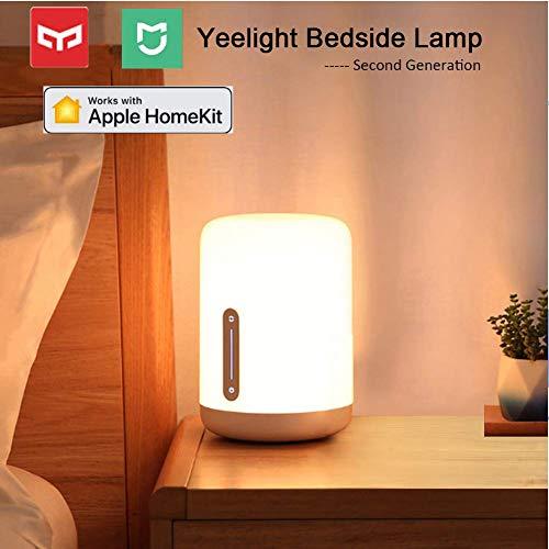 Yeelight Lamparas de Mesa Regulable, Mijia Versión 2 1700K-6500K USB Regulable 16 Million Color LED Bedside Lamp Lámpara de Cabecera Niños,Wifi/Bluetooth/Táctil Control Alexa Google Home Homekit