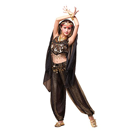 Tanz-Outfits Tanzkleidung Bauchtanz -Kostüm-Set Indian Dance Sexy Top&Indian Dance Sequins Pant Performance (Sexy Indian Kostüme)