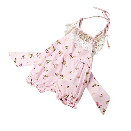 Bekleidung Longra Baby Sommer Strampler Neugeborene Säuglingsbaby Mädchen Overall Druck Bodysuit Ausstattung Baby Ohne Arm Blume Bowknot Sommerkleidung (0 -12Monate) (50CM 3Monate, Pink)