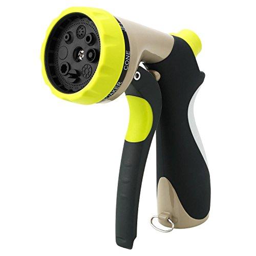 Soledi Pulvérisateur pour tuyau d'arrosage de jardin, 8 jets d'eau réglables, pression réglable, pulvérisateur à main réglable