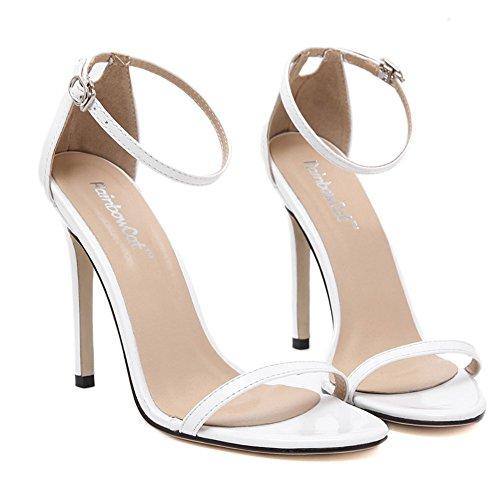 Wealsex Sandales Escarpins Cuir Vernie Boucles Talon Haute Aiguille Cheville Bout Ouvert Chaussure Talon Sexy Ete Femmes Blanc