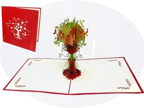 LIN-POP UP Karten, Blumenkarten, Dankeskarten, Gute Besserung, Geburtstagskarten, Grußkarten Blumen, Muttertagskarten, Frühlingsbaum