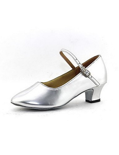 ShangYi Women's Dance Shoes Modern Leatherette Chunky Heel Silver/Gold Gold