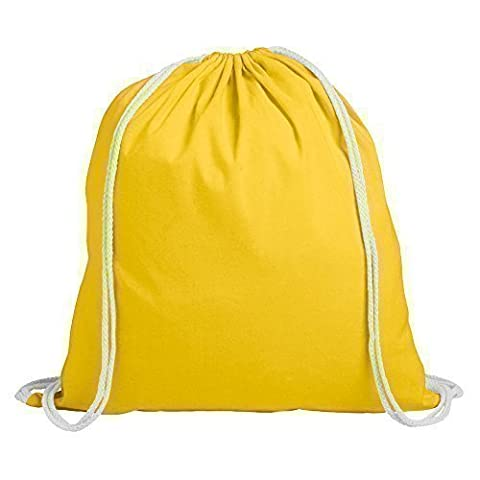 eBuyGB Pack de 10 enfants coton Drawstring sac à dos - Gym, natation, Sports, PE, sac rempli de livres (jaune)