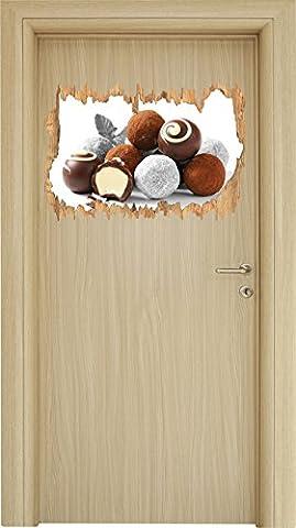 Edle Trüffelpralinen Schwarz/Weiß Holzdurchbruch im 3D-Look , Wand- oder Türaufkleber Format: 62x42cm, Wandsticker, Wandtattoo, Wanddekoration