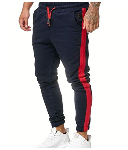 CuteRose Men Athletic Waistband Stretchy with Side Taping Jogging Pants Navy Blue XL Navy Blue Corduroy Pants