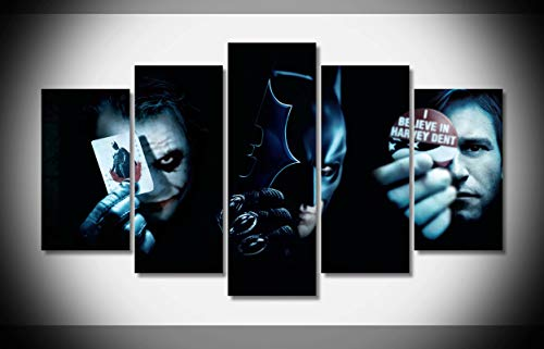 Mcanvas 5pcs The Dark Knight Batman Superhero Joker Lienzo Impresión Pared Arte Pintura para Hogar Decoración Moderna, Medium