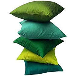 """GO GREEN"" EXOTIC OFFER!! 5 SHADES OF GREEN COMBO in Set of 5 Premium Quality Art Silk Solid Cushion Covers/ Throw pillow covers (16"" x 16"" inches i.e 40x40 Cms)- By Royal DecoFurnishing"