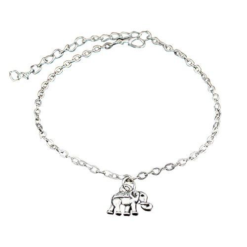 Westeng Silver Ankle Bracelet Ladies Foot Jewelry Barefoot Beach Anklet Chain Cute Elephant Pendants Wedding Decoration