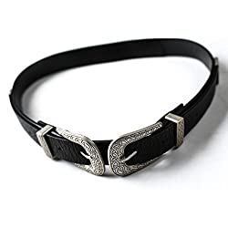 ZAFUL Women's Fashion Vintage Double Metal Buckle Designer Belt Solid Color