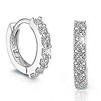 Lymocha 1 Pair Fashion Elegant Earrings Stud Earrings Sparkling Diamond Inlaid Jewelry Gift for Women Girls